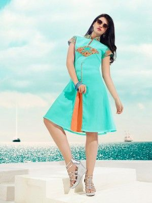 Sky Blue Georgette Trendy Designer Kurti