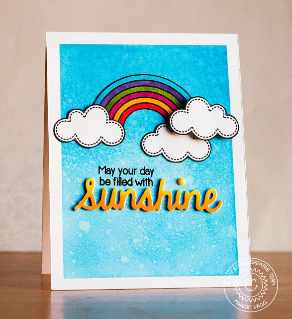 Sunny Studio: Rain or Shine May Your Day Be Filled With Sunshine Rainbow card by Marion Vagg.
