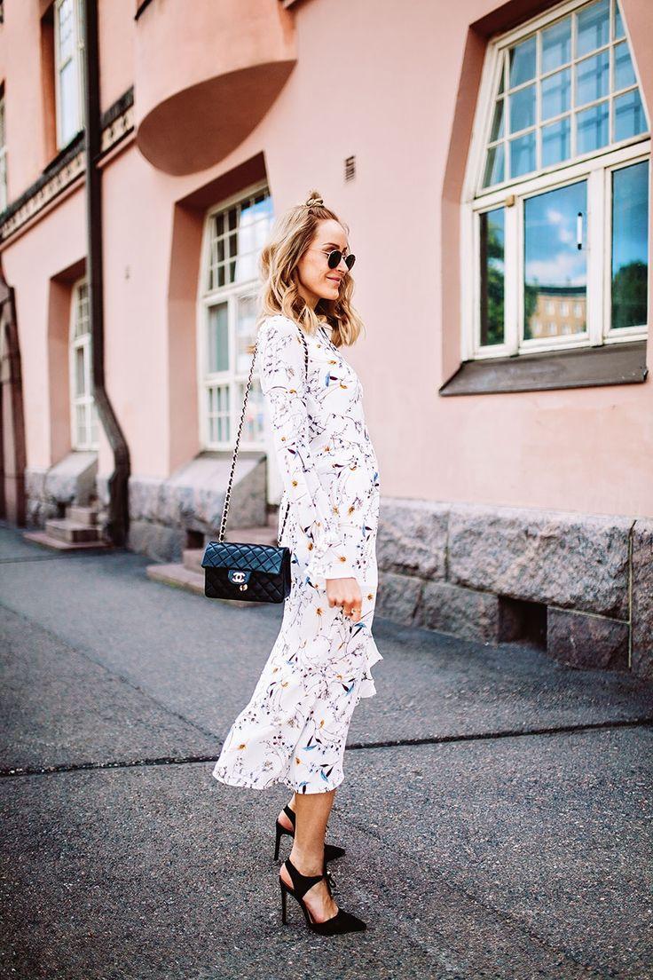 Summer outfit with a flowy print dress, black killer heels & a Chanel bag - Anna Pauliina, Arctic Vanilla blog.