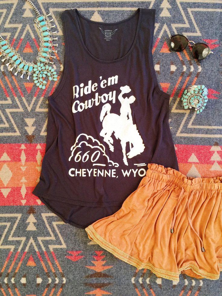 Ride 'Em Cowboy! Cute graphic tees. Summer style. Western fashion.