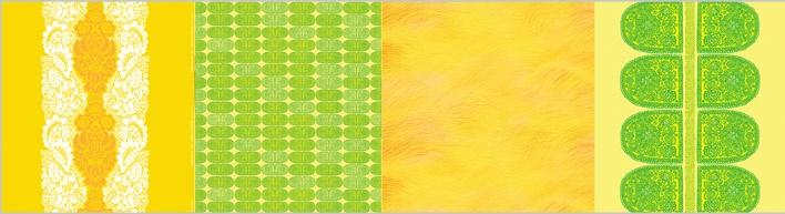 Classic Marimekko table clothing designed by  1. Maija Isola: Ananas   2. Maija Isola:Tantsu   3. Fujiwo Ishimoto: Lepo.  4. Maija Isola: Satula