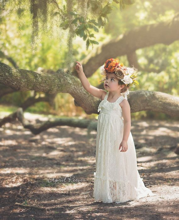 Rustic Flower Girl Dress Boho Lace Maxi by FlowerGirlsCouture