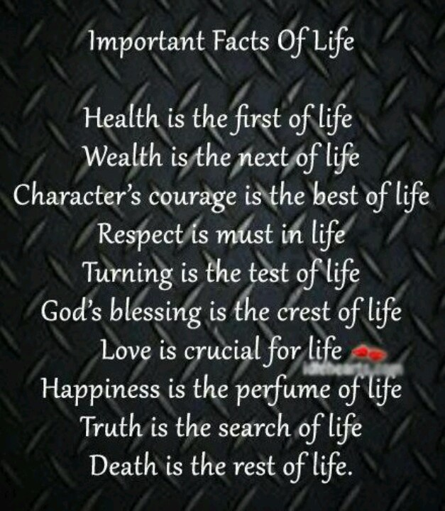 Important Facts Of Life....