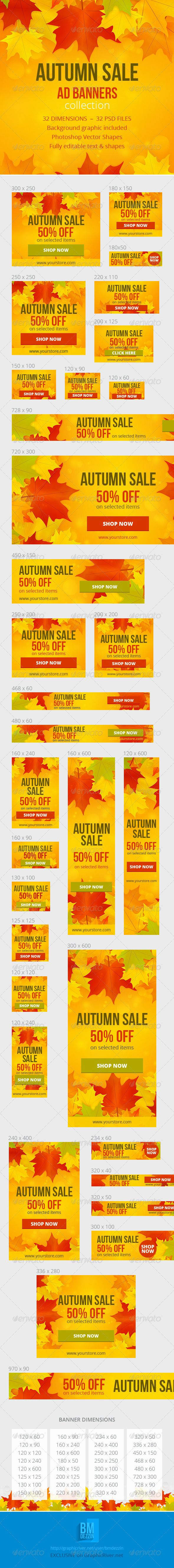 Autumn Sale Ad Web Banners Template PSD | Buy and Download: http://graphicriver.net/item/autumn-sale-ad-banners/5981050?WT.ac=category_thumb&WT.z_author=bmdezzin&ref=ksioks