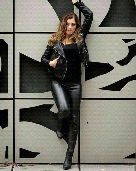 Tight leather pants jacket ankle boots