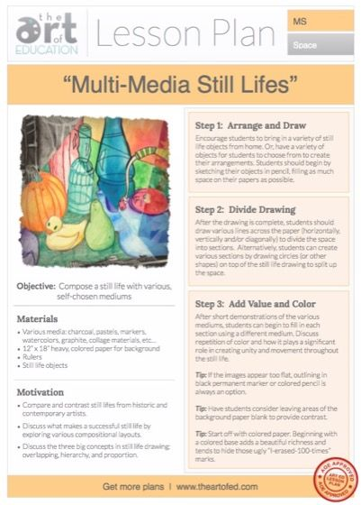 Multi-Media Still Lifes: Free Lesson Plan Download