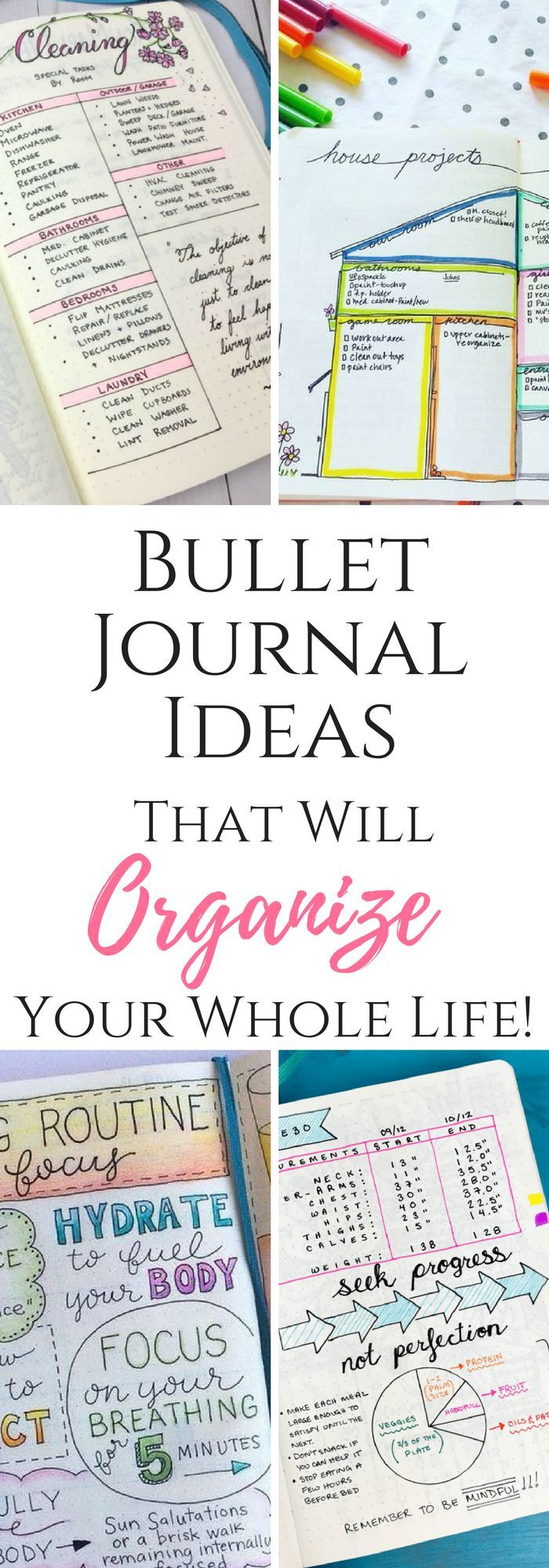 Bullet Journals and ideas that can organize your entire life! #organizing