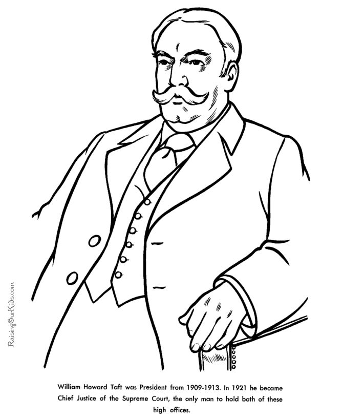president coloring pages with facts - free printable president william howard taft facts and