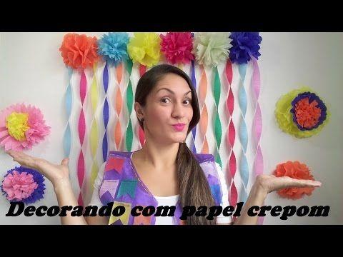 Aula 46 - Como fazer corações com flores de papel crepom (Artesanato) - YouTube
