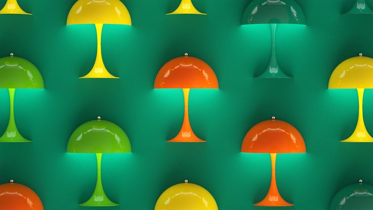 Here it's the Green, Orange & Blue/Green version of Panthella MINI from our latest campaign video. Panthella MINI is a smaller version of Verner Panton's classic Panthella lamp from 1971.