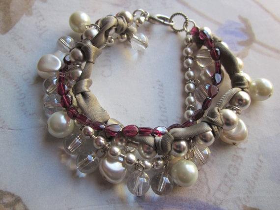 Multi Strand Bracelet Garnet Pearl Crystal Silver by tuscanroad $38.00