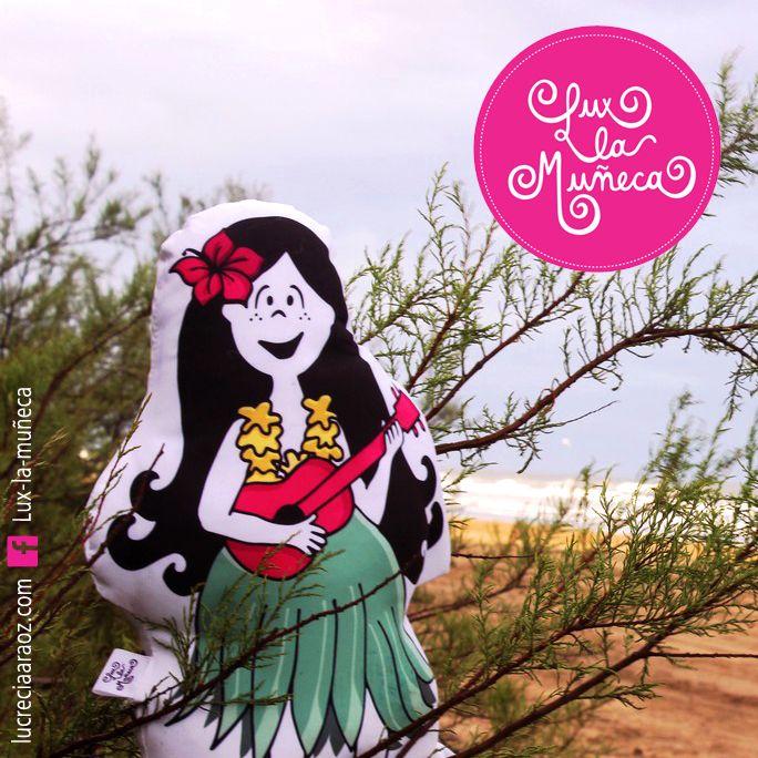 Lux la Muñeca HAWAIANA. #ilustracion #illustration #pink #muñeca #deco #kids Facebook: lux la muñeca Ventas : tienda.citarte.net