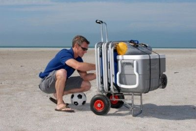 ABO Beach Lugger Fishing Cart Wheels Caddy Dolly Carrier Folding Cooler Wagon