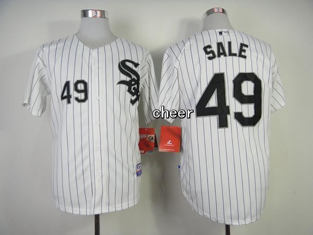 Men's MLB Chicago White Sox #49 Chris Sale White Black Strip Cool Base
