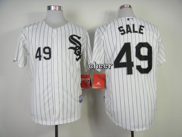 Men's MLB Chicago White Sox #49 Chris Sale White Black Strip Cool Base