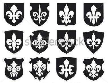 ユリの花 一族の紋章フルール デ リスと中世の盾 (ロイヤル フランスのユリのシンボル デザインをし、ユリの花のコレクションを飾るユリの花のセット、シールド セット) 画像をストックする - Clipart.me
