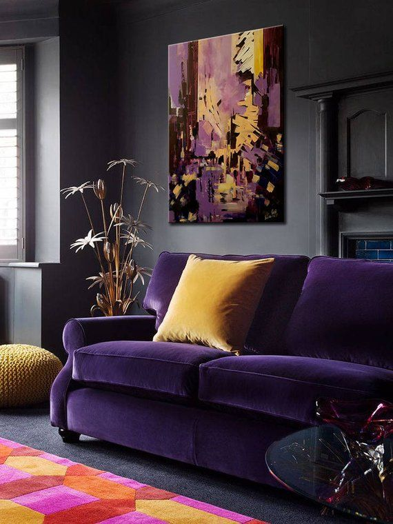 Large Abstract Painting Large Acrylic Painting Original Etsy Purple Living Room Living Room Decor Room Colors