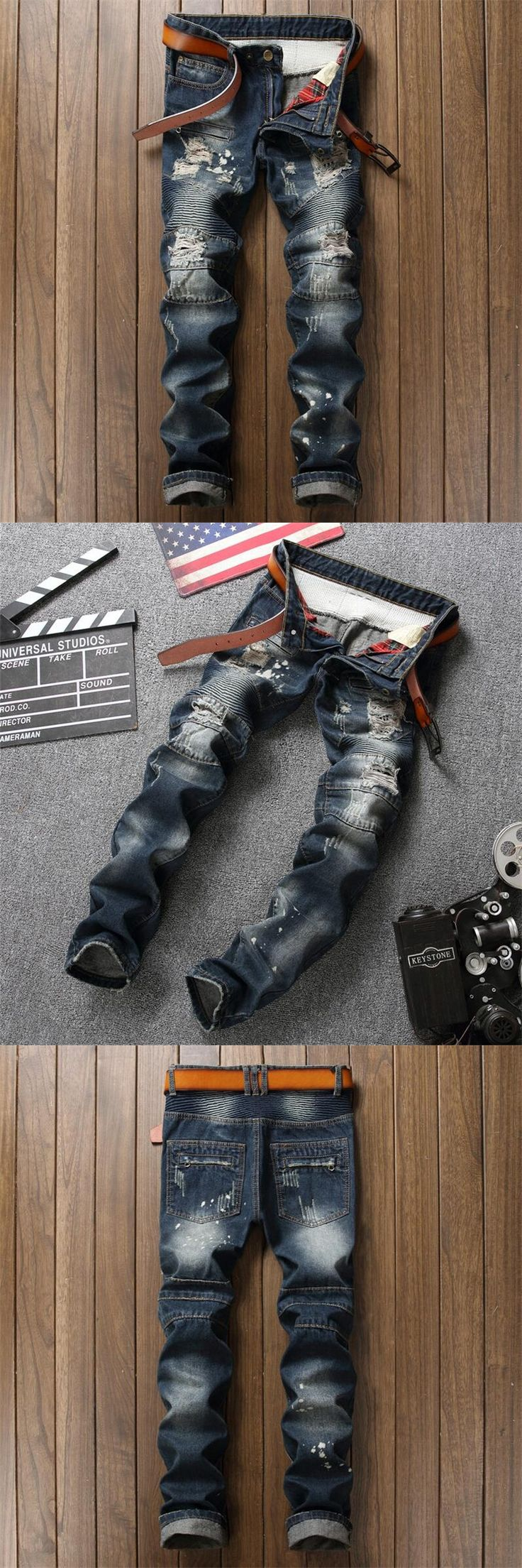 New Destroyed Slim Fit Mens Blue Jeans Ripped Pants Quality Brand Clothing EU Style Mid Stripe Moto Jeans Patchwork Men