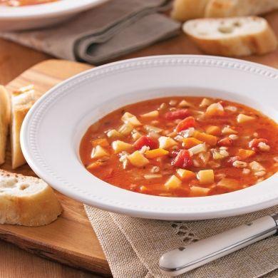 Soupe aux légumes, poulet et orge - Soupers de semaine - Recettes 5-15 - Recettes express 5/15 - Pratico Pratique