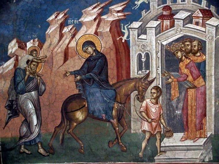 The Flight into Egypt. Fresco cathedral monastery Decani. 1335-1350 gg. Kosovo