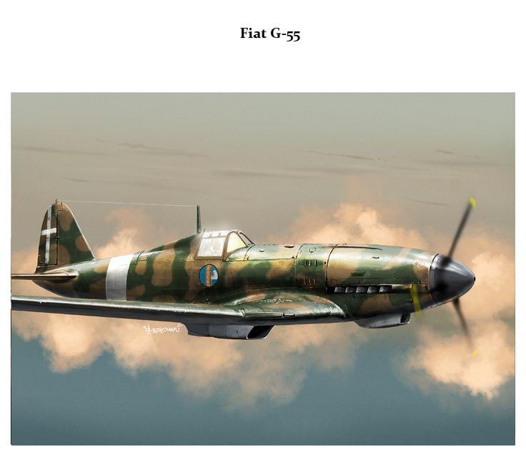 """Fiat G55 """"Centauro"""" - Regia Aeronautica - Fiat G.55 """"Centauro"""" - Aereo da caccia diurno, monoposto, monomotore, da intercettazione e superiorità aerea. Lunghezza: 9,37 m Apertura alare 11,85 m Altezza3,13 m Superficie alare21,11m² Peso a vuoto2 630 kg Peso max al decollo3 720 kg Propulsione Motore: Fiat 1050 RC.58 Tifone 12 cilindri a V raffreddato a liquido Potenza1 475 CV Prestazioni Velocità max620 km/h a 7 400"""
