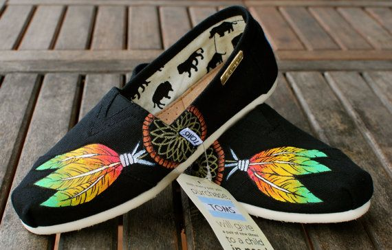I need these in my life.   Custom Hand Painted TOMS Rasta Dream Catcher on by BStreetShoes