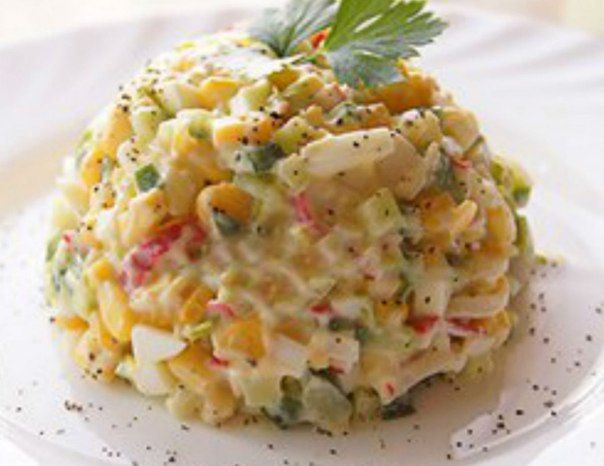 Salad «Mosaic» with crab sticks and vegetables