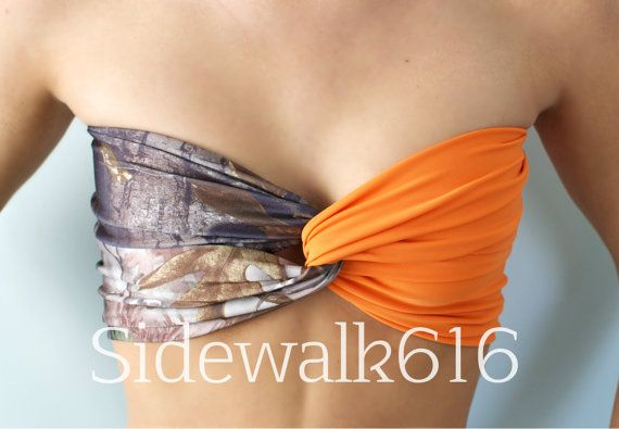 PRE SALE** Real Tree Camo and Hunter Orange Bandeau Top Spandex Bandeau Bikini Swimsuit
