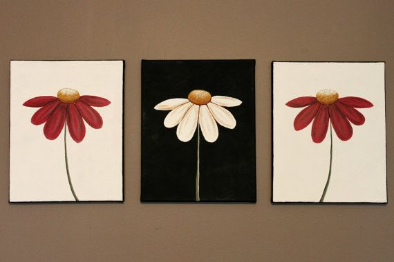 Original Abstract Acrylic Painting on Canvas Now And Forever Flowers Daisies Red White Black Comtemporary Minimalist Bloom Spring Summer