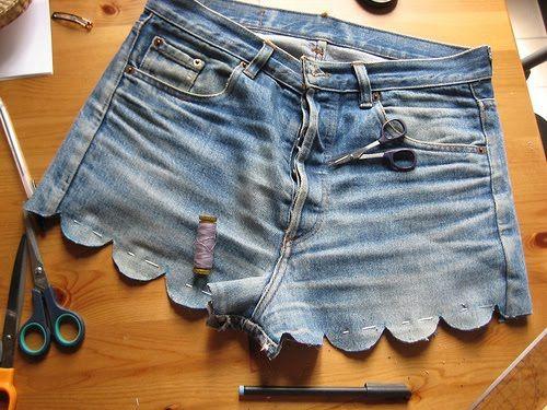 scalloped denim shorts.