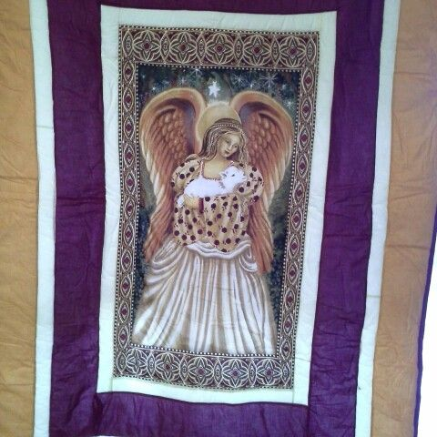 This glorious angel  would keep you protected and walm as you sleep , or you could use it as a wall hanging  This is a double bed  quilt $250.00 + p and h
