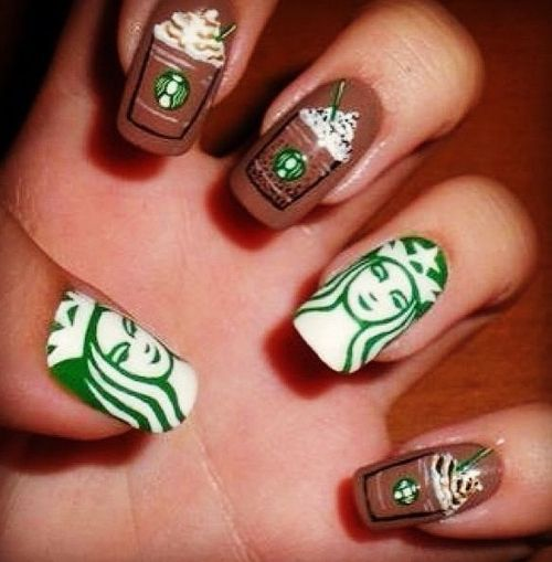 Starbucks Nails–finally a crazy nail design I could go for!
