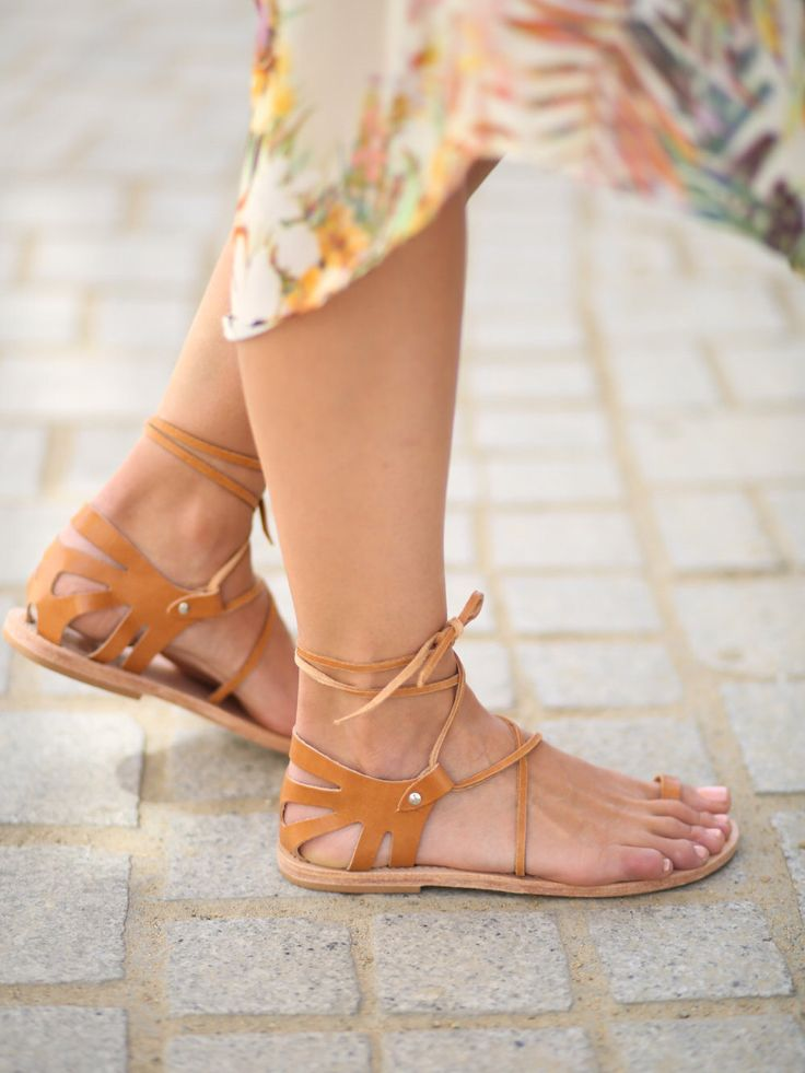CRETE Lace Up Natural Leather Sandals, Womens Lace Up Sandals, Tie Up Leather Sandals, Crete Tan Elegant Lace Up Women's Flat Shoes, by TheMerakiCompany on Etsy https://www.etsy.com/listing/192417064/crete-lace-up-natural-leather-sandals