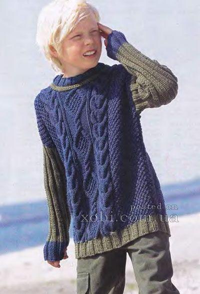 двухцветный пуловер с объемный узором