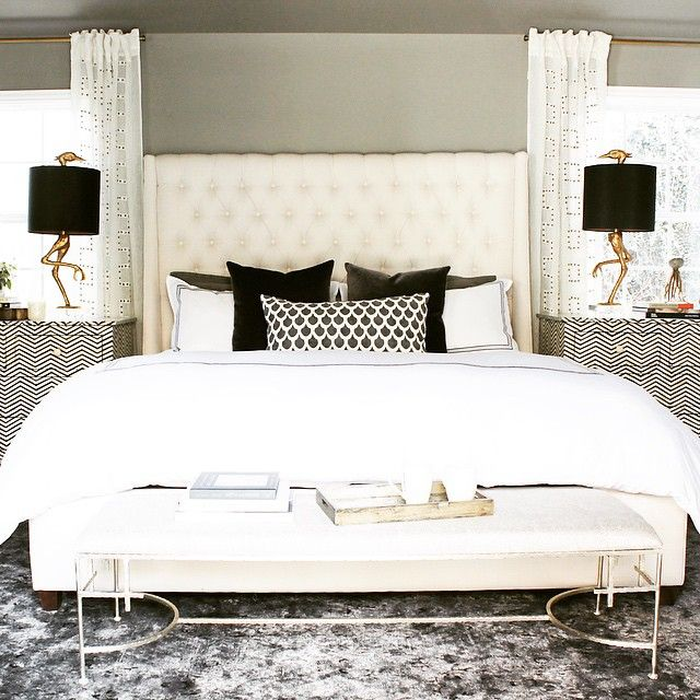 """#Love this neutral yet #fun master #bedroom! Read more on """"6 Design Tips for a Fashion-forward Bedroom"""" on this @HGTV blog featuring our #beautiful Amelia Bed:  http://blog.hgtv.com/design/2015/04/08/6-design-tips-for-a-fashion-forward-bedroom/#more-89758  http://www.highfashionhome.com/amelia-tall-bed-delight-ivory.html"""