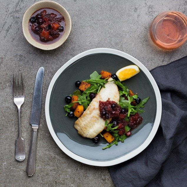 Pan-Fried Fish with Spiced Pumpkin and Blueberry Agrodolce