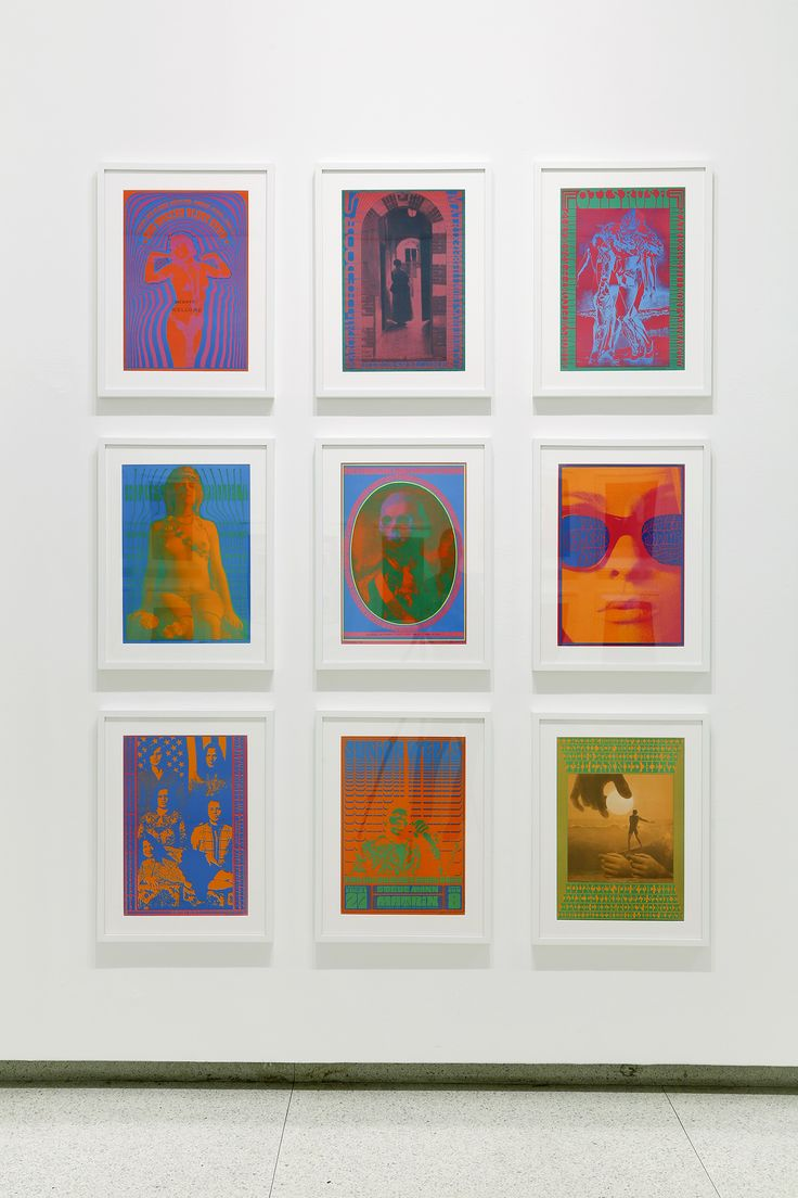 A selection of posters (1966–1967) by Victor Moscoso, as installed in Hippie Modernism: The Struggle for Utopia (Walker Art Center)