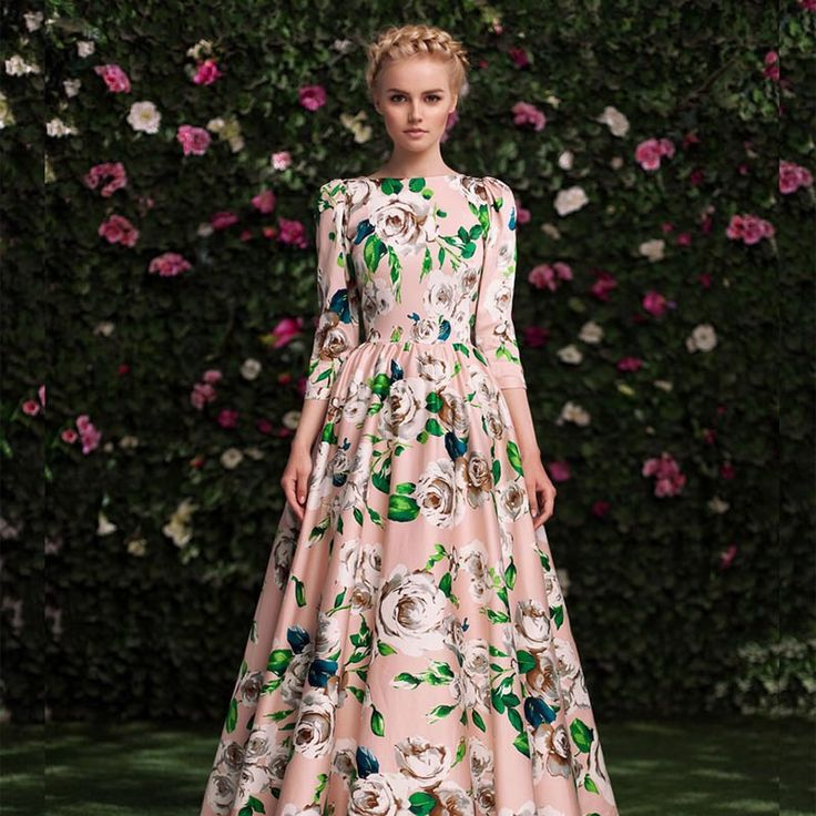 Find More Dresses Information about HIGH QUALITY New 2015 Russian Fashion Autumn Winter Runway Maxi Dress Women's 3/4 Sleeve Rose Print 100% Cotton Long Dress,High Quality dress long sleeve tunic dress,China dress tool Suppliers, Cheap dress necktie from L'Origine Moda on Aliexpress.com