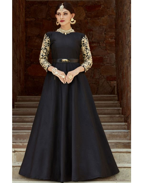 8a07cc76abd Black Taffeta Silk Party Wear Gown in 2019