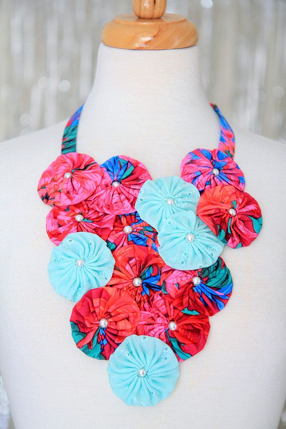 Statement Necklace with Red and Mint Flowers - Island Style Accessories by Mademoiselle Mermaid.