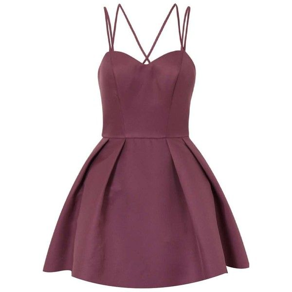 **Chi Chi London Petite Strappy Mini Dress ($110) ❤ liked on Polyvore featuring dresses, berry, petite, petite dresses, purple dress, purple mini dress, mini dress and short dresses