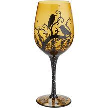 Crow Painted Wine Glass