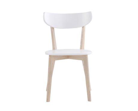 Sanna stol från Rowico. Sanna är en snygg och prisvärd stol som finns i både vitlack med grå klädd sits samt whitewash/vitlack med vitlackad träsits. Stolen passar bra att kombinera med Sanna matbord .