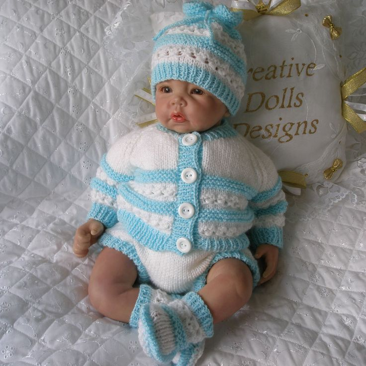"Knitting Pattern 17-22"" Reborn Doll, 0-3 Month Baby Available as a PDF instant download from www.creativedollsdesigns.co.uk"
