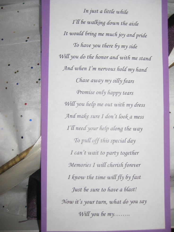 A way to ask someone to be bridesmaid with this lovely poem