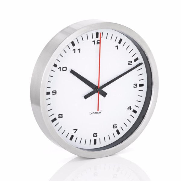 Large White Clock Part - 28: Blomus Stainless Steel Wall Clock - Large/White