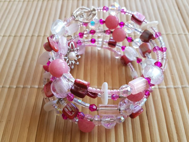 Handmade memory wire bracelet in pink and white with a love heart by LynnesEbooks on Etsy