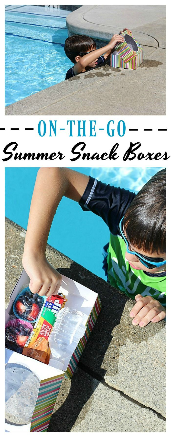 Make on-the-go summer snacking fun and delicious with these easy to make snack boxes filled with water, fresh fruit and @jifpeanutbutter bars! #JifSummerSnacking #ad
