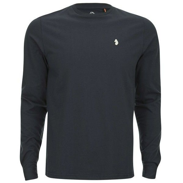 Luke 1977 Men's Long Charmer Slim Fit Crew Neck T-Shirt (3600 RSD) ❤ liked on Polyvore featuring men's fashion, men's clothing, men's shirts, men's t-shirts, navy, mens long sleeve t shirts, mens crew neck t shirts, mens long t shirts, mens slim shirts and mens slim t shirts