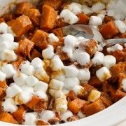"A Thanksgiving classic with a nineties twist. There are marshmallows and brown sugar to keep the youngsters happy, and ""big kids"" will like the addition of almonds and spices."